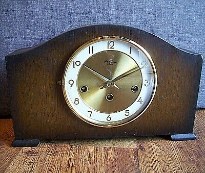 Antique Bentima 8 Day Sunburst Oak Mantel Clock with Floating Balance (Key Time)