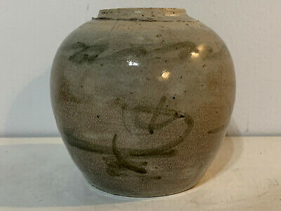 Antique Asian Chinese Qing or Ming Dynasty Porcelain Small Ginger Jar