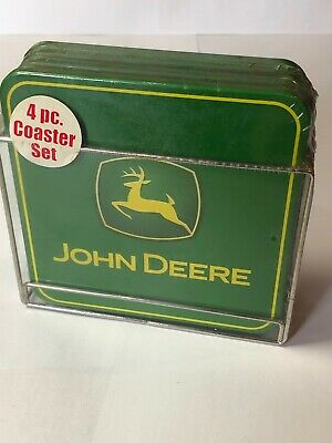 John Deere Four Piece Corrugated Cork Coaster Set With Metal Placement Holder