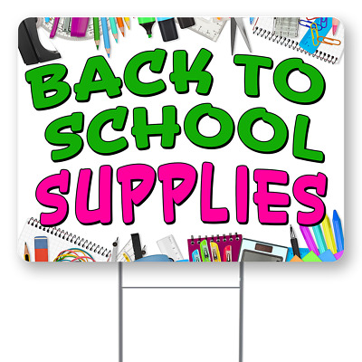 Back To School Supplies 18x24 Inch Sign With Display Options