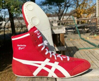Onitsuka Tiger 81 Wrestling Shoes (2010) Size 8.5 Red White ASICS Rare Snakeskin