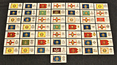 50 1910 Player & Sons Cigarette Tobacco Cards Regimental Colors & Cap Badges Set