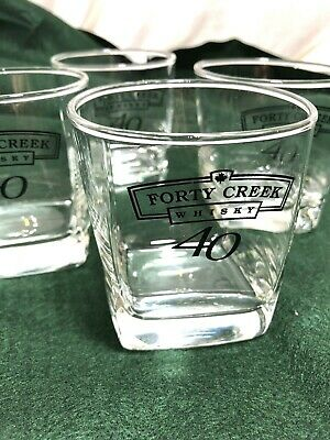 Forty Creek 40 Creek Whisky Square Rocks Bourbon Glasses ~ 4 Nice