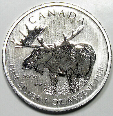 2012 Canada Wildlife Series Moose 1 Oz .9999 Silver 5 Dollars