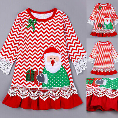 Toddler Infant Baby Girls Christmas Dress Santa Claus Lace Princess Dress Outfit