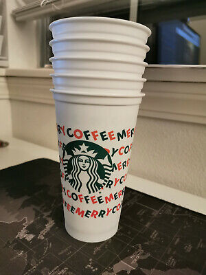 BULK 5X Starbucks Christmas Holiday 2019 Merry Coffee Hot Reusable Cup White New