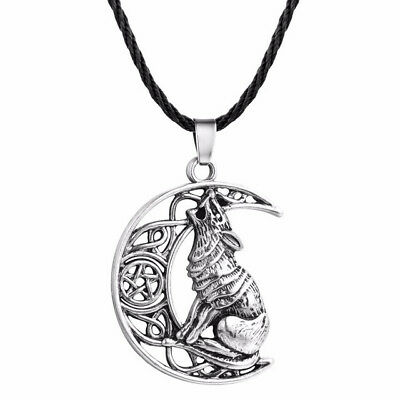 Viking moon celtic wolf pendant necklace Symbol of Norse