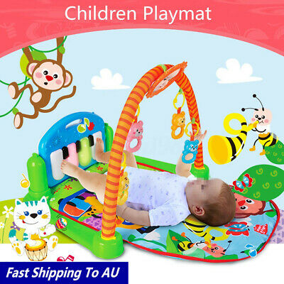 3-in-1 Rainforest Musical Carpet Baby Crawl Activity Playmat Gym Toy Play Mat