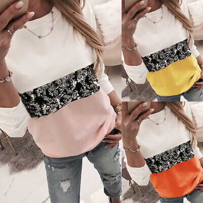 Womens Sequin Patchwork Blouse Tops Ladies Long Sleeve Casual Pullover Shirt Tee