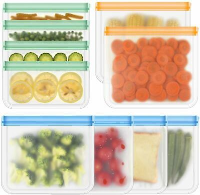10Reusable Food Storage Silicone Bags Leak-Proof Ziplock Seal Large Produce Bags