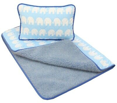 Merino Wool BABY Bedding Duvet Blanket Cot Bed Pram wool & cotton Blue Elephants