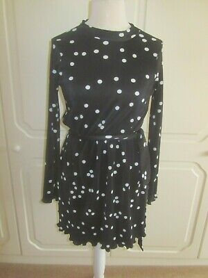 Vgc Asos Black & White Spotted High Neck Wide Cuff Skater Dress Size 10