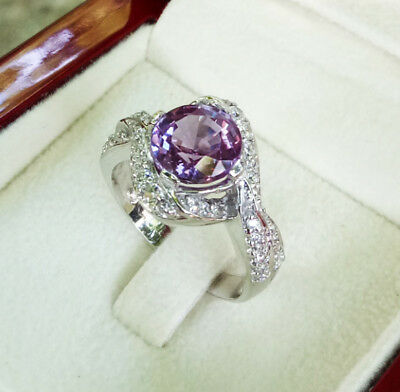 Precious!100%Real.925 Silver with W/G Plated  8mm. Round Alexandrite Ring sz 6.5