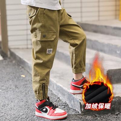 Kids Boys Winter Warm Lined Army Combat Sports Cargo Jeans Pants Casual Trousers
