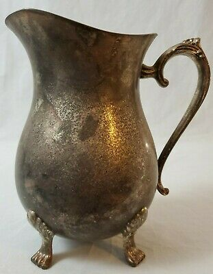 VINTAGE Leonard Silver Plate Footed Water Pitcher with Ice Lip