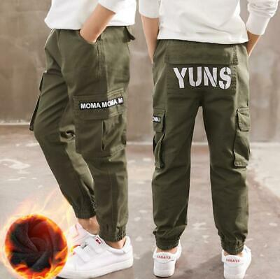 Kids Boys Winter Army Combat Sports Harem Cargo Jeans Pants Casual Trousers New