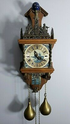 Nu Elck Zaanse Zaandam Dutch Bell Chime Wall Clock Blue Delft