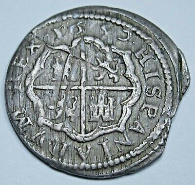 1652 Spanish Silver 1 Reales Piece of 8 Real Old Antique Colonial Pirate Coin
