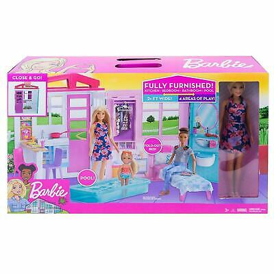 Barbie FXG55 Doll and Dollhouse, Portable 1-Story Playset, with Pool