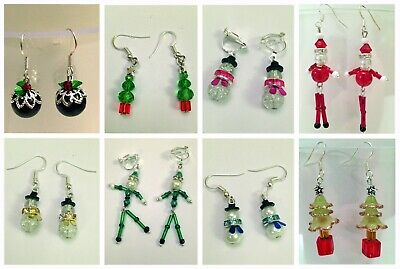 Stocking filler -Christmas Earrings. Hook/Clip on. Snowman, tree, santa, pudding