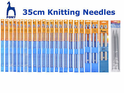 Pony 35cm Knitting Needles Pins - 2.00mm - 15mm - ALL SIZES - Single Ended
