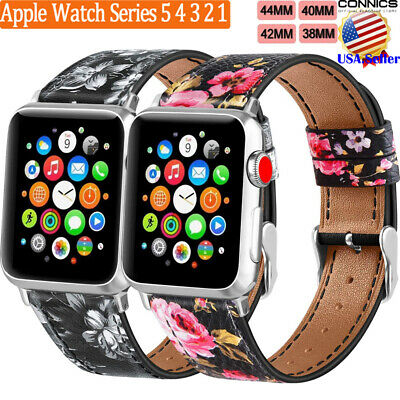 40/44mm iWatch Strap Watch Band Floral Leather For Apple Watch Series 5/4/3/2/1