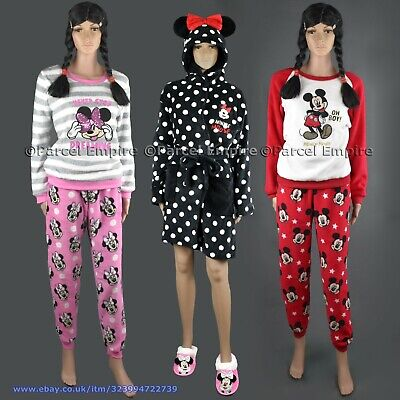 Official Disney MICKEY MINNIE HOODED ROBE / PYJAMAS Fleece Dressing Gown Sequins