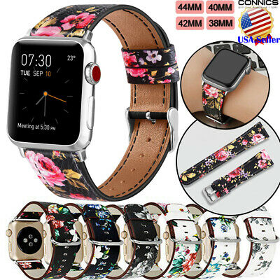 For Apple Watch LV Pattern Leather Replacement Band Strap 44mm 40mm 42mm 38 USA