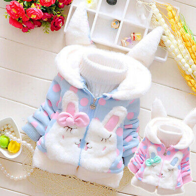 Toddler Kids Baby Girls Winter Jacket Coat Thick Outwear Hooded Snowsuit Tops