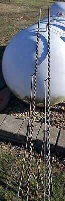 Pair Antique  Iron Lightning TWIST Rods Base Stands copper Lightning Rods.Tall!