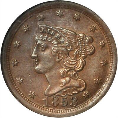 1853 Classic Half Cent C-1 R-1 Only Known Dies Ngc Au-58 Bn Cac Approved