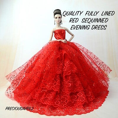 New Barbie doll clothes princess wedding dress Vogue RED sequin gown