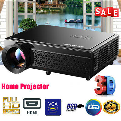 7000 Lumens 3D Projector 1080P HD Home Cinema LED Theater HDMI USB 5.8 Inch AUS