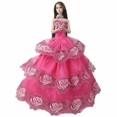 New barbie doll clothes outfit princess wedding deep pink embroidered dress