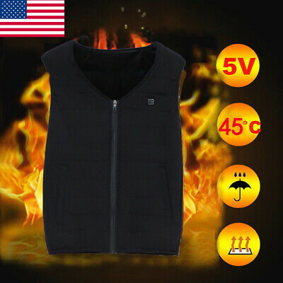 Electric USB Winter Heated Warm Vest Men Women Heating Coat Jacket Clothing US
