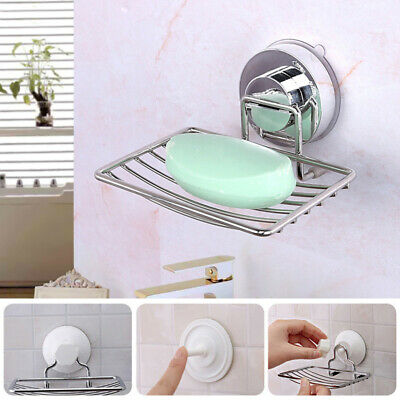 Stainless Steel Soap Dish Tray Wall-mount Strong Vacuum Suction Cup Rack