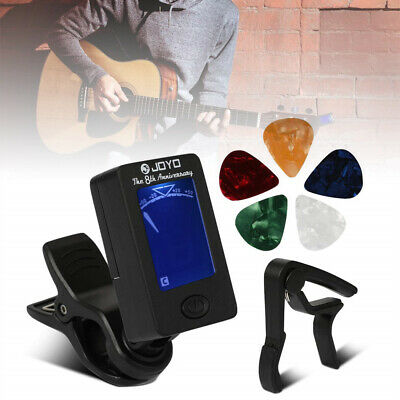 Digital Electronic Clip-On Guitar Tuner w/ LCD Display and Black Guitar Capo Set