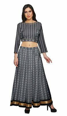 Moomaya Printed Ethnic Wear Long Skirt And Crop Top Set For Girls-BP-700A