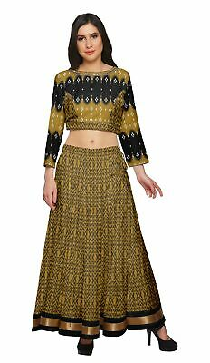 Moomaya Two Piece Skirt And Crop Top Printed Ethnic Set For Girls-BP-740E