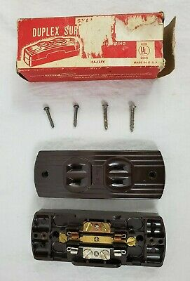 VINTAGE Sylvania  SnapIt Duplex Surface Receptacle No.1232 Switch Brown Ribbed