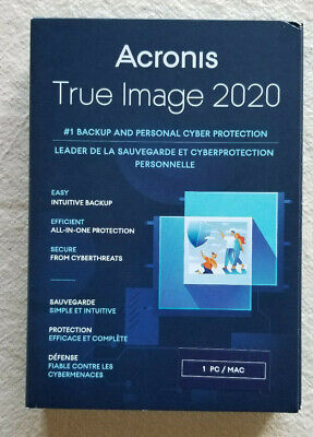 ACRONIS TRUE IMAGE 2020 - 1 PC / MAC New Sealed Retail Box. Ships FREE 3 DAY !!