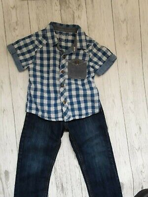 Boys Mixed Brands Short Sleeved Shirt And Jeans Outfit Age 2-3 Years