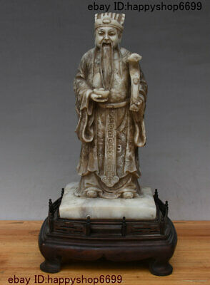 Chinese Shou Shan Stone Hand Carved Mammon Money Wealth God Yuan Bao Coin Statue