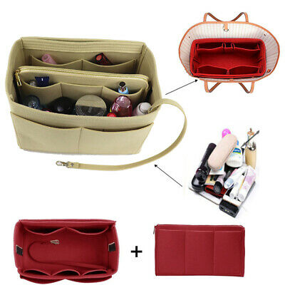 UK Handbag Organizer Bag Purse Insert Bag Felt Fabric MultiPocket Liner Portable