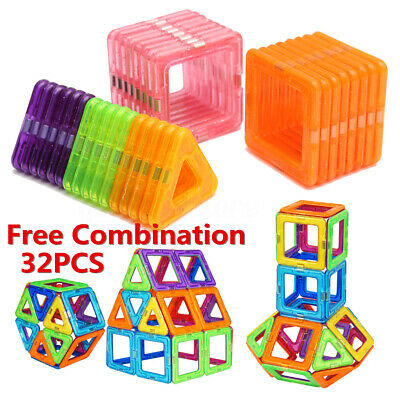 32-128X Magnetic Building Blocks 3D Tiles DIY Educational Toy Gift Kids Children