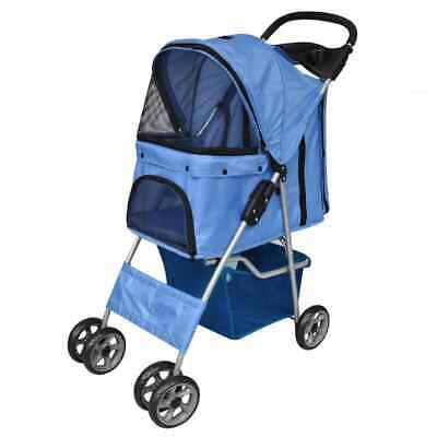 Folding Pet Stroller Dog/Cat Travel Carrier Blue NEW