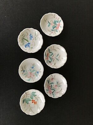 Butter Pat Chip Porcelain Hand Painted Flower Group of 6 Holidays!!