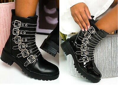 Womens Ladies Buckle Front Zip Biker Chunky Ankle Boots Winter Party Shiny Shoes