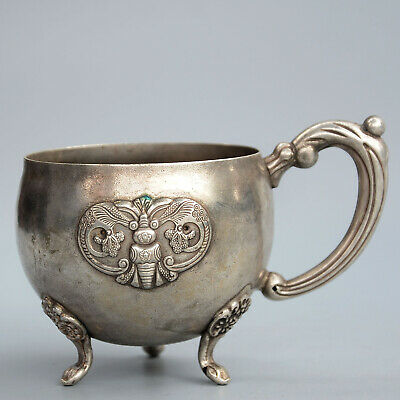 Collectable China Old Silver Hand-Carved Butterfly & Bloomy Flower Noble Tea Cup