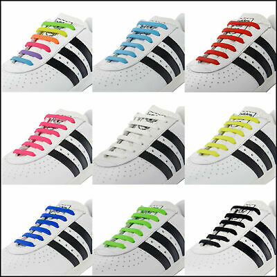 US Easy No Tie Rubber Shoe Laces Colored Shoelaces Trainers Snickers Kids Adults